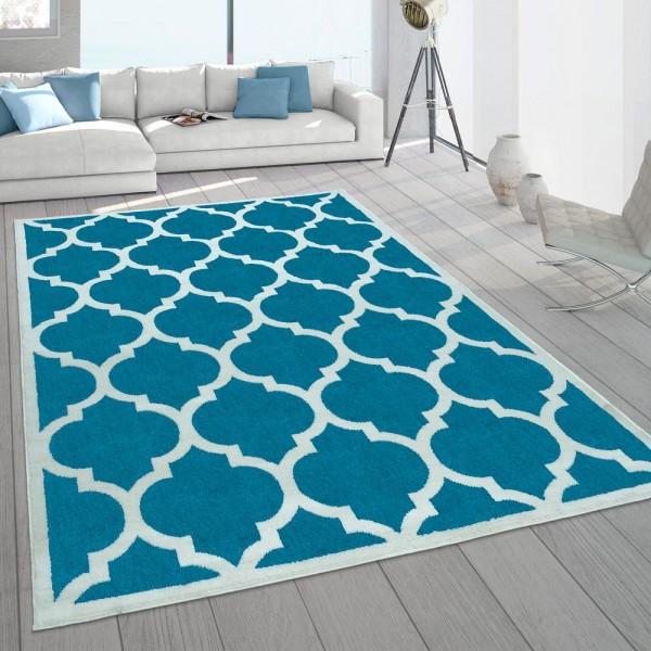 Wohnzimmer-Teppich, Designer-Kurzflor Mit Orientalisches Muster In Türkis Weiß
