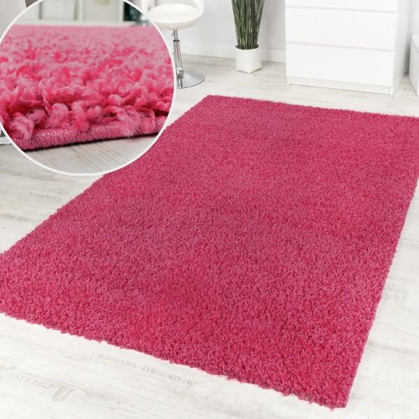 Shaggy Pink Hochflor Langflor Teppich Pink Einfarbig Top Aktion zum Hammer Preis