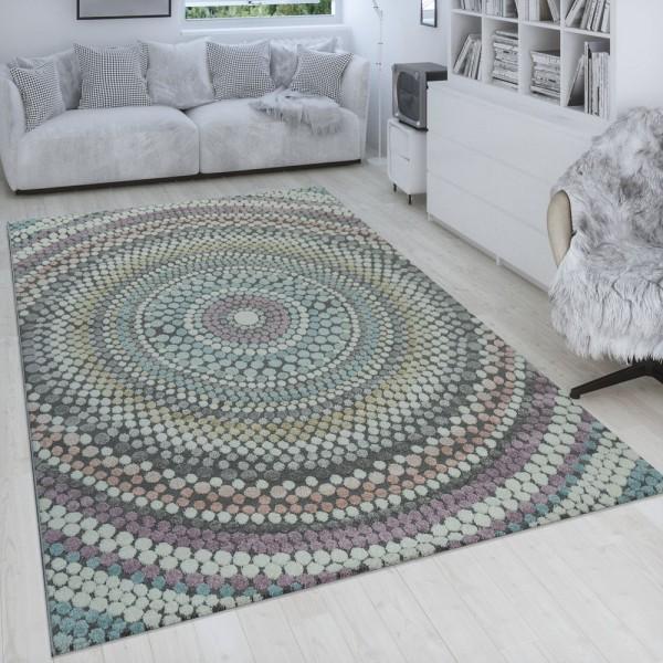 Retro Teppich Bunt Wohnzimmer Pastellfarben Kreis Design Punkte 3-D Muster