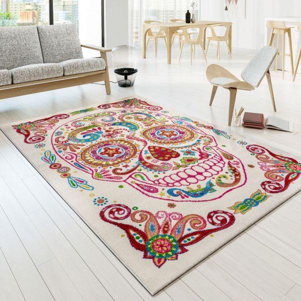 Teppich Bunter Totenkopf Moderner Designer Teppich Skelett Kopf Multicolour