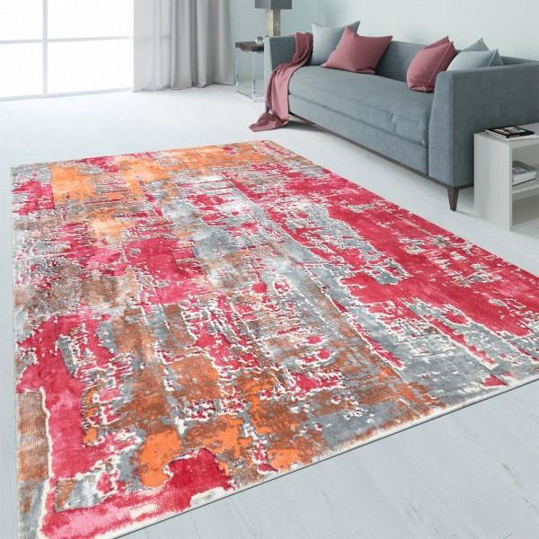 Design Teppich Abstrakt Used-Look Rosa Orange