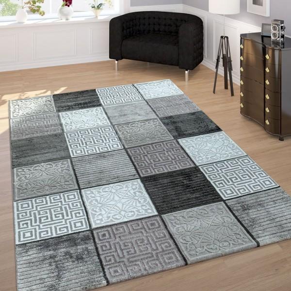 Wohnzimmer-Teppich, Kurzflor Mit Handgecarvtem Muster-Mix, Kariert In Grau