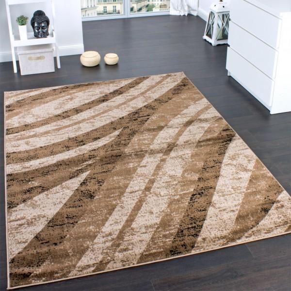 Teppich Modern Trendige Melierung Wellen Muster Braun Beige Preishammer