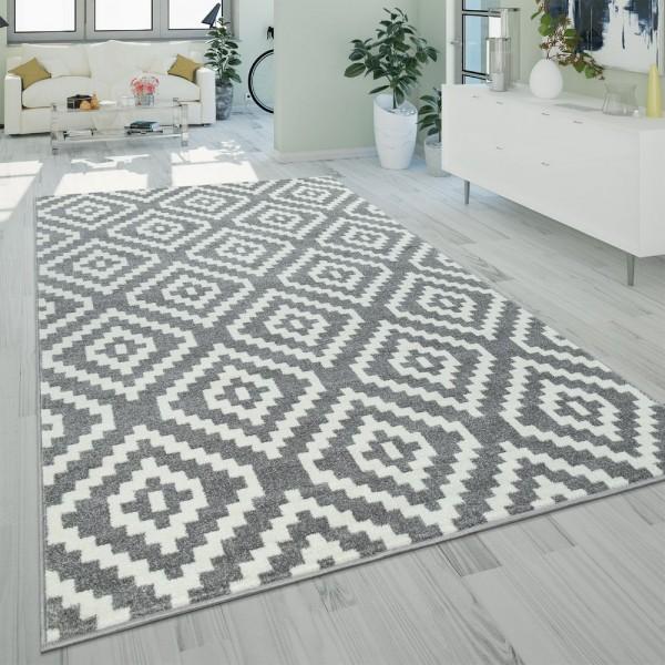Ethno Teppich Grau Weiß Wohnzimmer Weich Rauten Muster Strapazierfähig Kurzflor