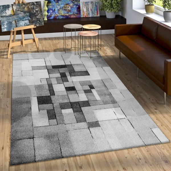 Designer Teppich Trendig Kariert Modern Schattiert Meliert Grau Schwarz Creme