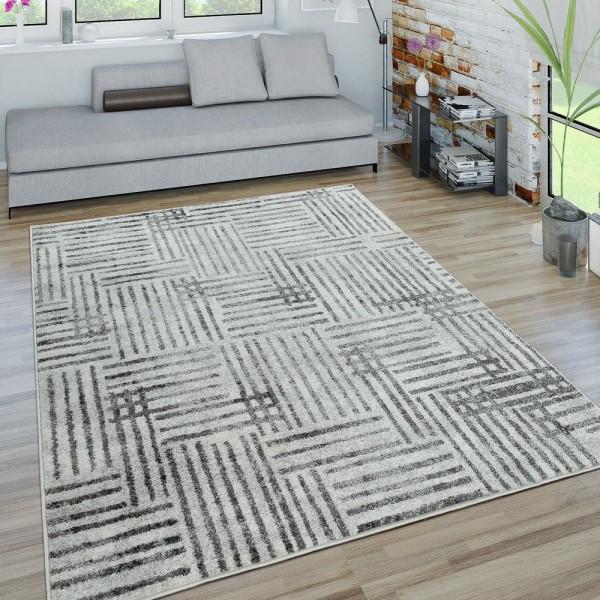 Kurzflor Teppich Wohnzimmer Modern Karo Linien Design Used-Look In Grau