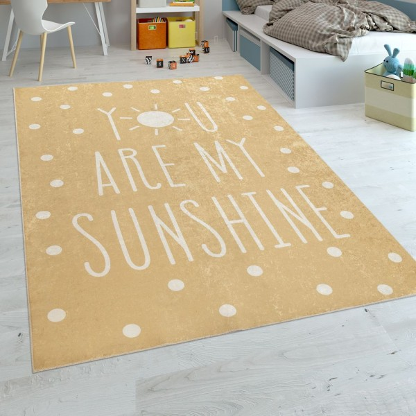 Kinderteppich Kinderzimmer Babyteppich Waschbar Spruch Punkte Modern Gelb Weiss