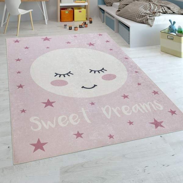 Kinderteppich Kinderzimmer Mädchen Waschbar Sterne Niedlicher Mond Spruch Rosa
