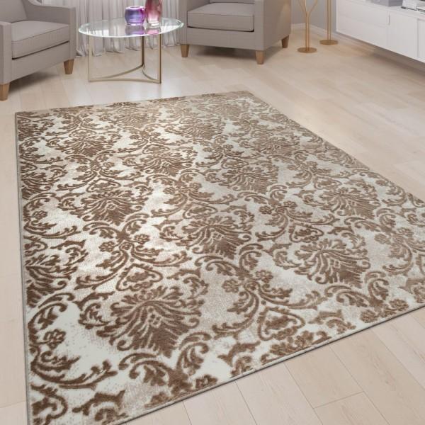 Orient Teppich Wohnzimmer Beige Nude Rosa Weich Blumen Design Vintage Kurzflor