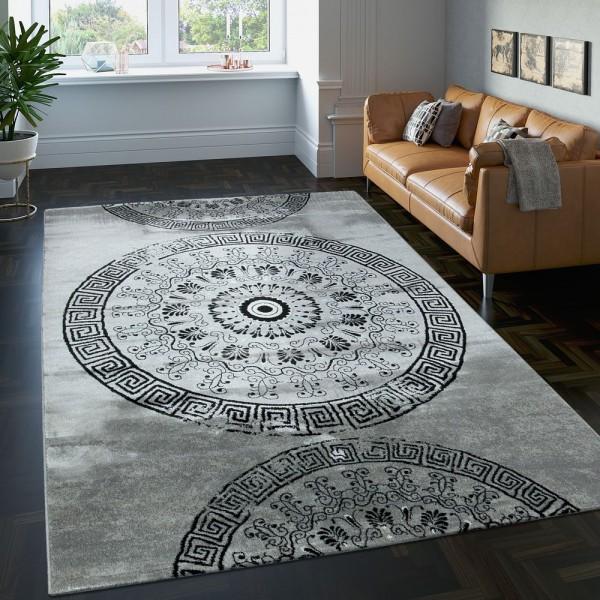 Teppich Klassisch Gemustert Kreis Ornamente in Grau Schwarz Meliert
