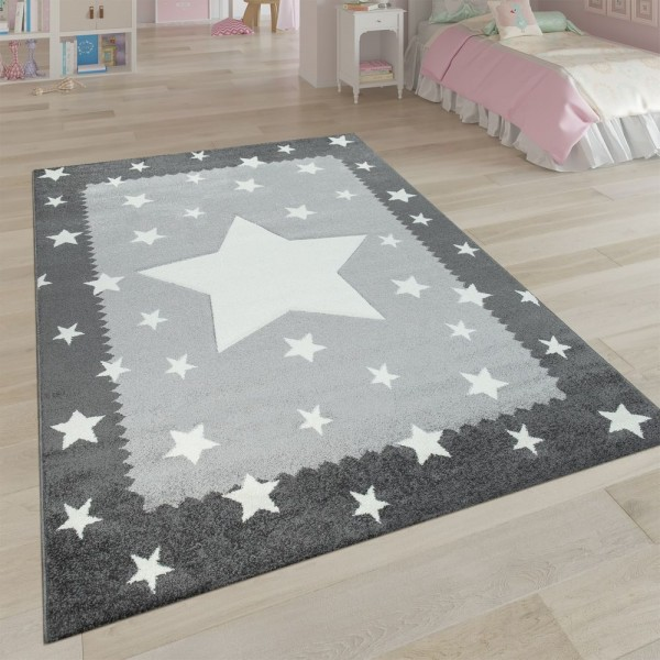 Kinderteppich Grau Weiß Kinderzimmer 3-D Bordüre Sternen Design Weich Robust