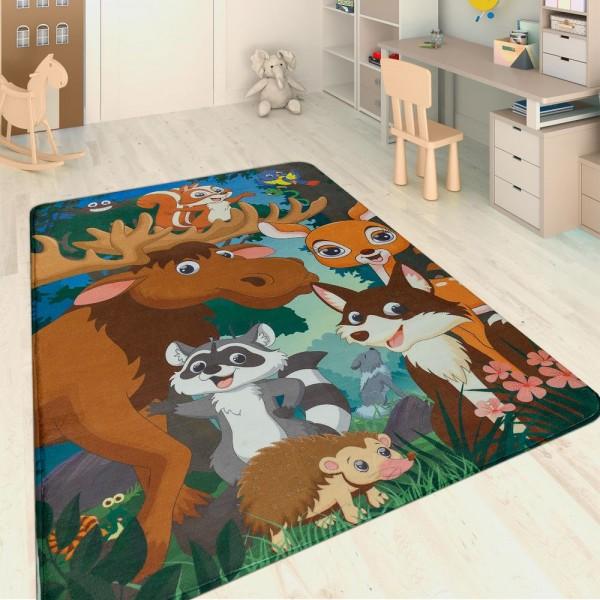 Kinderteppich Waldtiere Multicolor