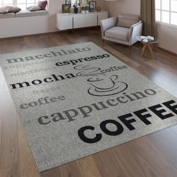 Flachgewebe Teppich Schriftzüge Kaffee Silber
