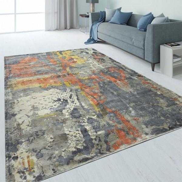 Design Teppich Abstrakt Used-Look Gelb