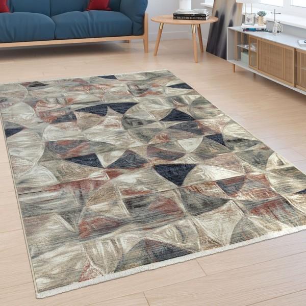 Kurzflor Wohnzimmer Teppich Mustermix Abstraktes Design Modern Orient Bunt