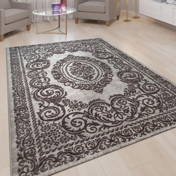 Kurzflor Wohnzimmer Teppich 3-D-Optik Ornamente Bordüre Orient Muster In Grau