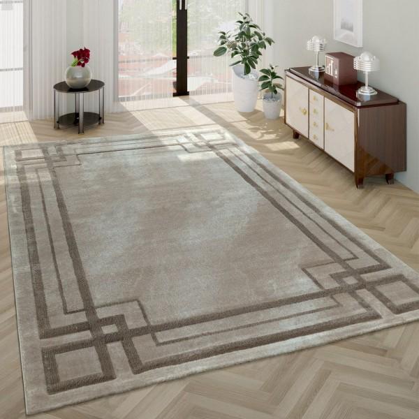Wohnzimmer-Teppich, Kurzflor-Teppich Meliert Mit Designer-Bordüre, In Beige