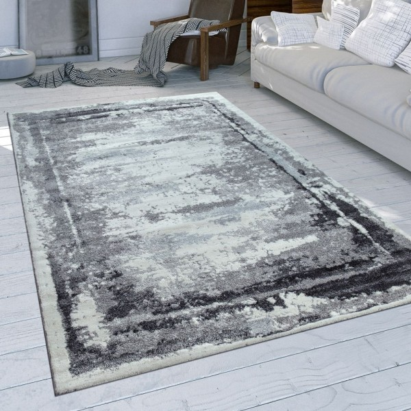 Teppich Grau Meliert Wohnzimmer Weich Used Design Bordüre Kurzflor Einfarbig