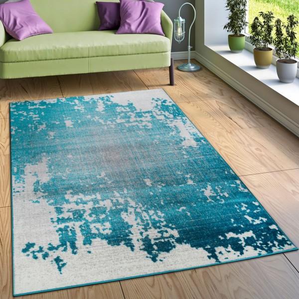 Designer Teppich Wohnzimmer Mit Splash Muster Vintage Optik In Türkis Weiß Grau