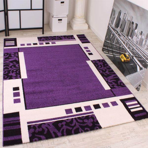 Designer Teppich Muster in Lila Schwarz Weiss Top Qualität zum Top Preis!!