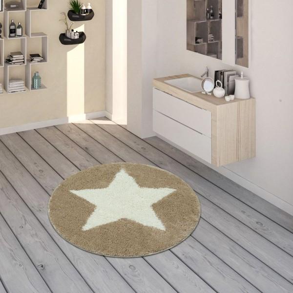 Badematte, Runder Kurzflor-Teppich Für Badezimmer Mit Sternen-Motiv In Beige