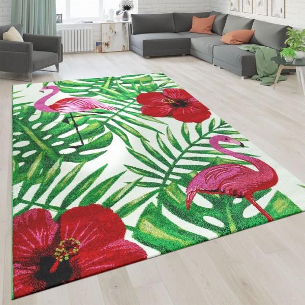 Kurzflor Wohnzimmer Teppich Greenery Design Blumen Flamingo Weiß Rot Grün
