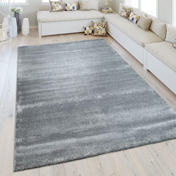 Kurzflor Teppich Einfarbig Silber Grau