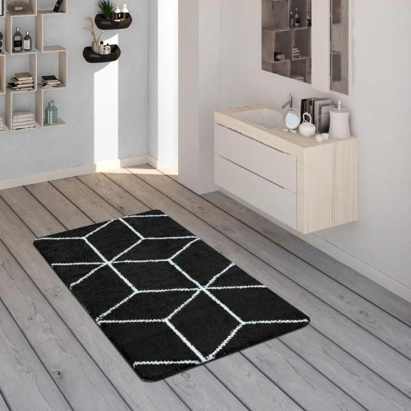 Badematte, Kurzflor-Teppich Für Badezimmer Mit Rauten-Muster In Schwarz Weiß