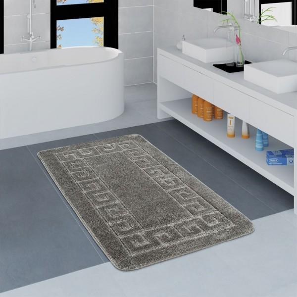 Moderner Badezimmer Teppich Bordüre Badvorleger Rutschfest Badematte In Grau