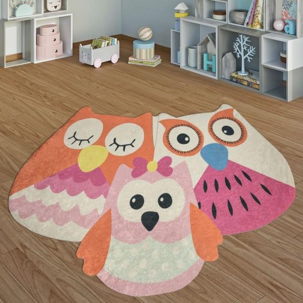Kinderteppich Spielzimmer Verspielte Eulen Mädchen Interieur Orange Pink Rosa
