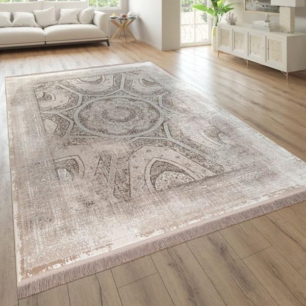 Wohnzimmer-Teppich, Kurzflor Mit Orientalischem Design, Used-Look In Beige