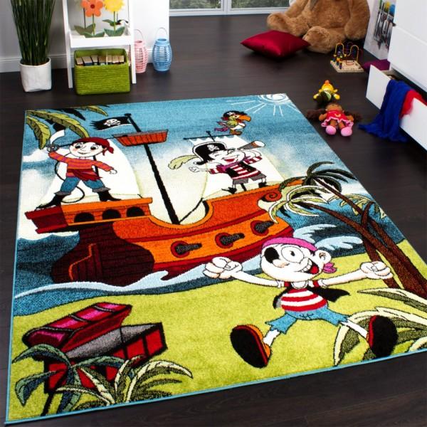 Teppich Kinderzimmer Pirat Lustige Piratenbande Kinderteppich Türkis Mehrfarbig