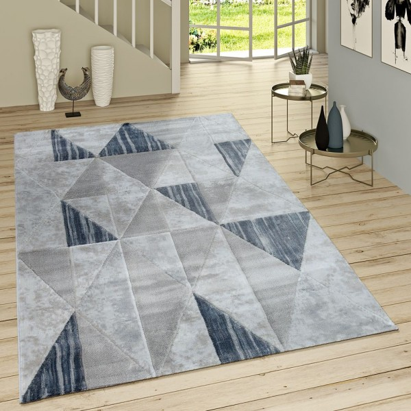 Kurzflor Teppich Modern Rauten Muster Vintage Style Ombre Look Grau Blau