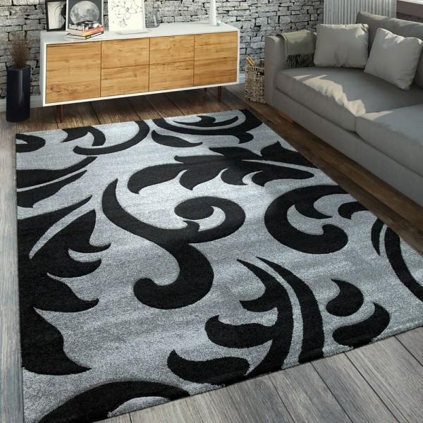 Moderner Kurzflorteppich Florales Design Grau Schwarz
