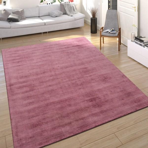 Teppich Seidenoptik Puder Pink Handgefertigt