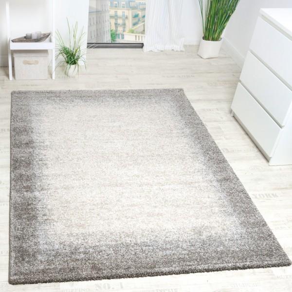 Teppich Meliert Modern Webteppich Hochwertig Mit Bordüre Beige Creme Grau