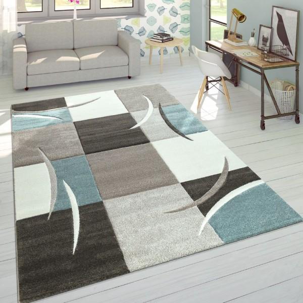 Designer Teppich Modern Konturenschnitt Pastellfarben Karo Muster Beige Türkis