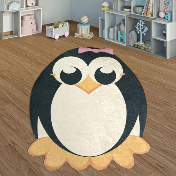 Kinderteppich Spielzimmer Pinguin Rosa Schleife Mädchen Interieur Schwarz Weiß