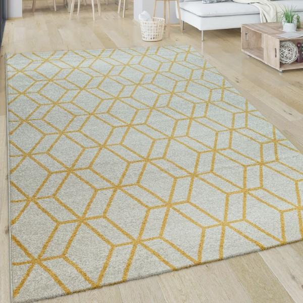 Wohnzimmer-Teppich, Kurzflor Mit Retro-Design Und Rauten-Muster, In Weiß Gelb