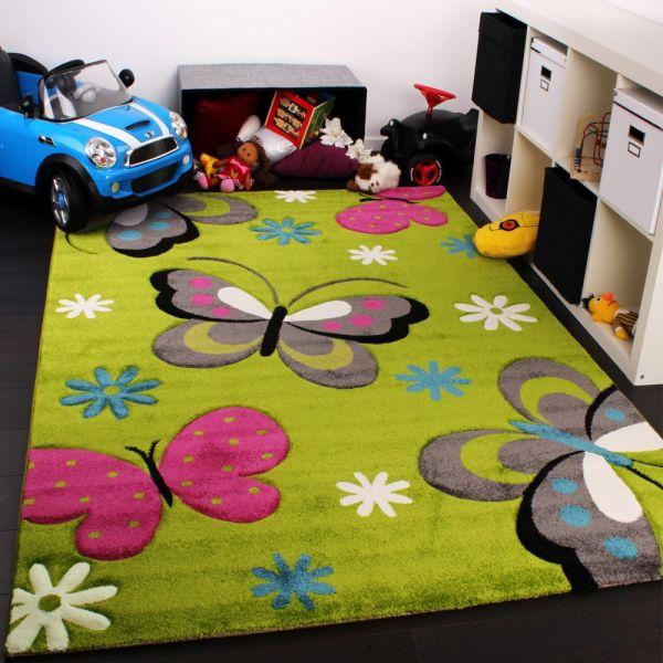 Kinder Teppich Schmetterling Design Grün Creme Rot Pink