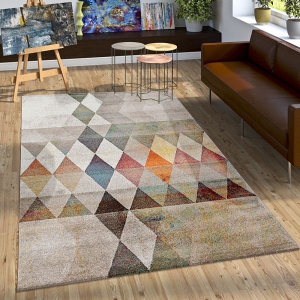 Designer Teppich Bunte Raute Muster Konturenschnitt In Beige Braun Creme Meliert