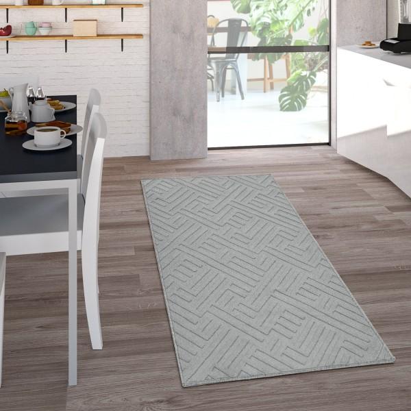Tappeto per interni ed esterni in tessuto piatto con motivo geometrico grigio