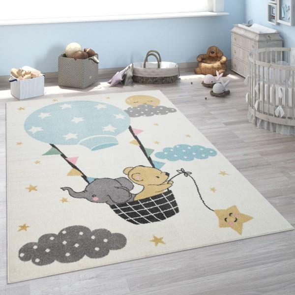 Tappeto per la camera dei bambini con elefante, orso e luna