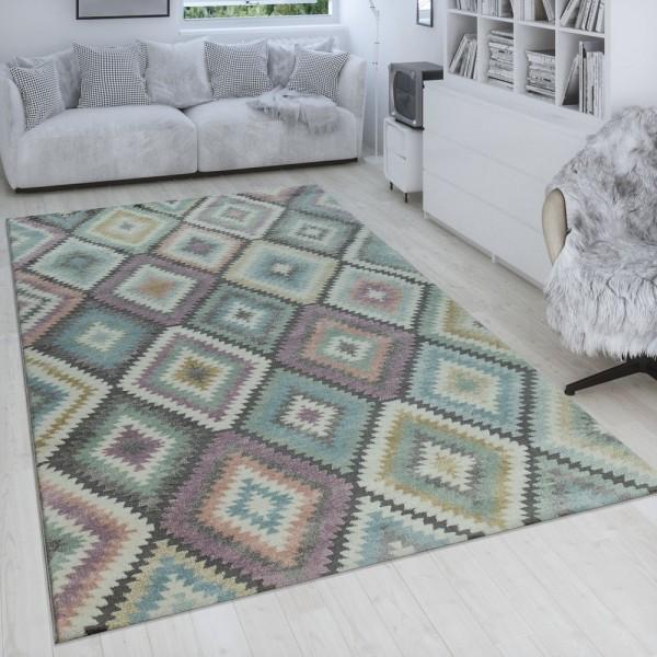 Teppich Bunt Wohnzimmer Rauten Muster Retro Design 3-D Look Pastell Kurzflor