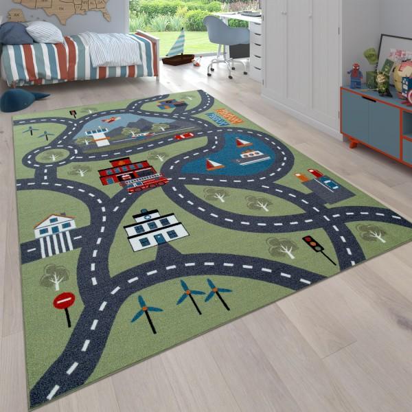Tappeto da gioco per la camera dei bambini con disegno di città