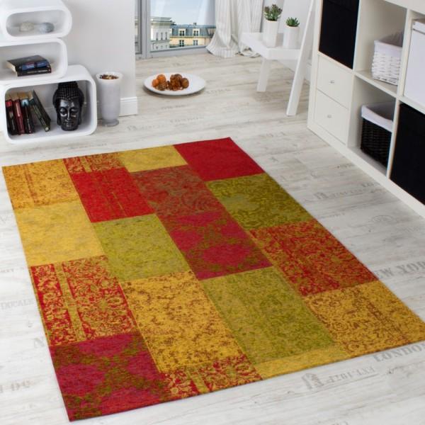 Vintage Teppich -Antik- Multicolor Trendiger Patchwork Stil Kariert Mehrfarbig