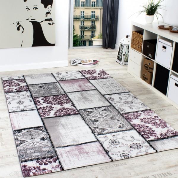 Edler Designer Teppich Patchwork Vintage Look Teppich Meliert in Lila Weiß