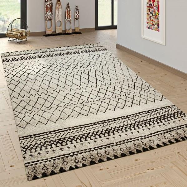 Designer Teppich Modern Skandinavisch Trend Zick Zack Muster Schwarz Creme